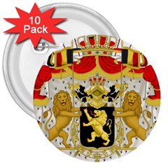Great Coat Of Arms Of Belgium 3  Buttons (10 Pack)  by abbeyz71