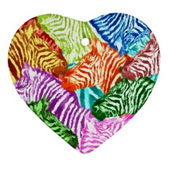 Zebra Colorful Abstract Collage Ornament (heart)  by Amaryn4rt