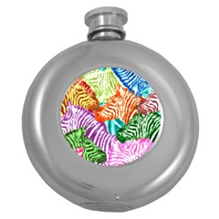 Zebra Colorful Abstract Collage Round Hip Flask (5 Oz) by Amaryn4rt