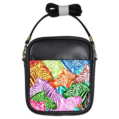 Zebra Colorful Abstract Collage Girls Sling Bags by Amaryn4rt