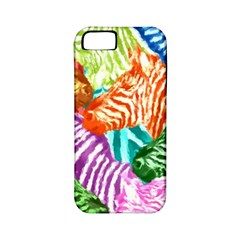 Zebra Colorful Abstract Collage Apple Iphone 5 Classic Hardshell Case (pc+silicone) by Amaryn4rt
