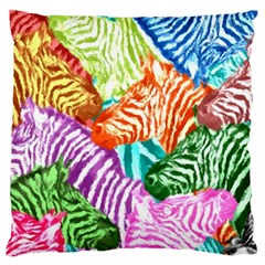 Zebra Colorful Abstract Collage Standard Flano Cushion Case (one Side)