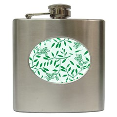Leaves Foliage Green Wallpaper Hip Flask (6 Oz) by Amaryn4rt