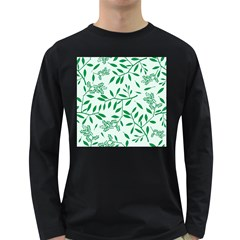 Leaves Foliage Green Wallpaper Long Sleeve Dark T-shirts by Amaryn4rt
