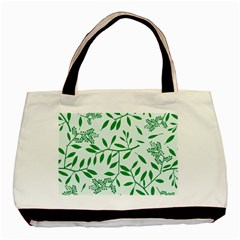 Leaves Foliage Green Wallpaper Basic Tote Bag by Amaryn4rt