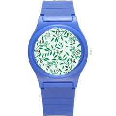 Leaves Foliage Green Wallpaper Round Plastic Sport Watch (s) by Amaryn4rt
