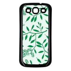 Leaves Foliage Green Wallpaper Samsung Galaxy S3 Back Case (black) by Amaryn4rt
