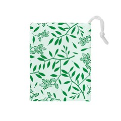 Leaves Foliage Green Wallpaper Drawstring Pouches (medium)  by Amaryn4rt
