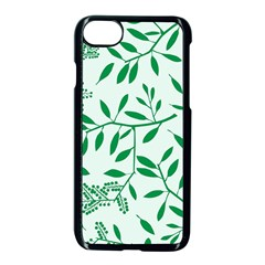 Leaves Foliage Green Wallpaper Apple Iphone 7 Seamless Case (black) by Amaryn4rt