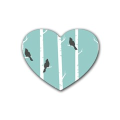 Birds Trees Birch Birch Trees Heart Coaster (4 Pack)