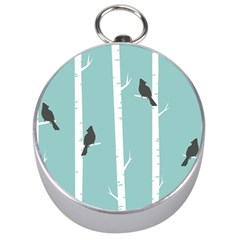 Birds Trees Birch Birch Trees Silver Compasses by Amaryn4rt