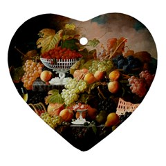 Abundance Of Fruit Severin Roesen Heart Ornament (2 Sides) by Amaryn4rt
