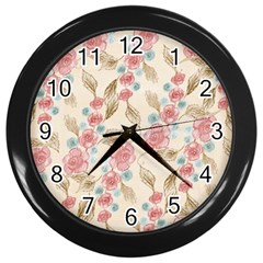 Background Page Template Floral Wall Clocks (black) by Amaryn4rt