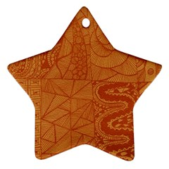 Burnt Amber Orange Brown Abstract Star Ornament (two Sides)