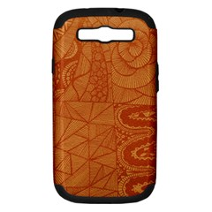 Burnt Amber Orange Brown Abstract Samsung Galaxy S Iii Hardshell Case (pc+silicone)