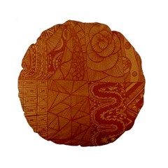 Burnt Amber Orange Brown Abstract Standard 15  Premium Flano Round Cushions