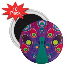 Peacock Bird Animal Feathers 2 25  Magnets (10 Pack)  by Amaryn4rt