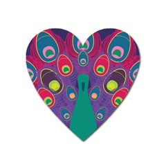 Peacock Bird Animal Feathers Heart Magnet by Amaryn4rt