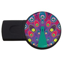 Peacock Bird Animal Feathers Usb Flash Drive Round (4 Gb)  by Amaryn4rt
