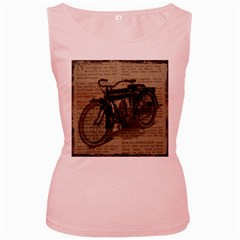 Vintage Collage Motorcycle Indian Women s Pink Tank Top