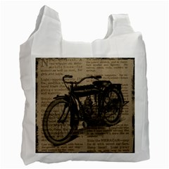 Vintage Collage Motorcycle Indian Recycle Bag (one Side)