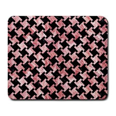 Houndstooth2 Black Marble & Red & White Marble Large Mousepad by trendistuff