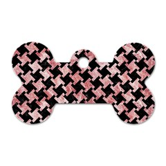 Houndstooth2 Black Marble & Red & White Marble Dog Tag Bone (two Sides) by trendistuff
