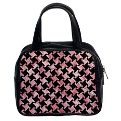 Houndstooth2 Black Marble & Red & White Marble Classic Handbag (two Sides) by trendistuff
