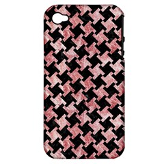 Houndstooth2 Black Marble & Red & White Marble Apple Iphone 4/4s Hardshell Case (pc+silicone) by trendistuff