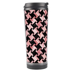 Houndstooth2 Black Marble & Red & White Marble Travel Tumbler by trendistuff