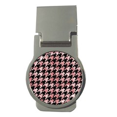 Houndstooth1 Black Marble & Red & White Marble Money Clip (round) by trendistuff