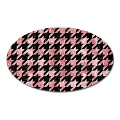 Houndstooth1 Black Marble & Red & White Marble Magnet (oval) by trendistuff