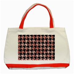 Houndstooth1 Black Marble & Red & White Marble Classic Tote Bag (red) by trendistuff
