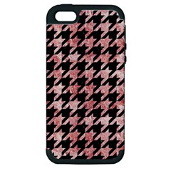 Houndstooth1 Black Marble & Red & White Marble Apple Iphone 5 Hardshell Case (pc+silicone) by trendistuff