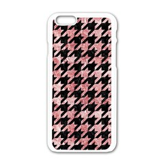 Houndstooth1 Black Marble & Red & White Marble Apple Iphone 6/6s White Enamel Case by trendistuff