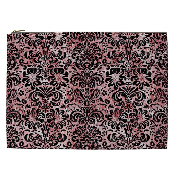 DAMASK2 BLACK MARBLE & RED & WHITE MARBLE (R) Cosmetic Bag (XXL)