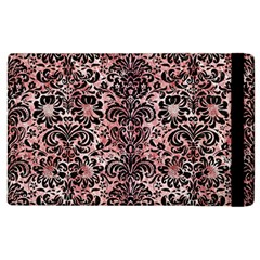 Damask2 Black Marble & Red & White Marble (r) Apple Ipad 3/4 Flip Case by trendistuff