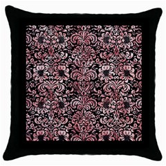 Damask2 Black Marble & Red & White Marble Throw Pillow Case (black) by trendistuff