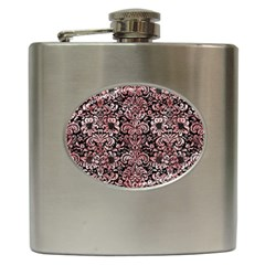 Damask2 Black Marble & Red & White Marble Hip Flask (6 Oz) by trendistuff