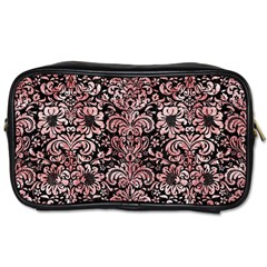 Damask2 Black Marble & Red & White Marble Toiletries Bag (two Sides) by trendistuff