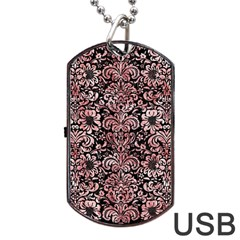Damask2 Black Marble & Red & White Marble Dog Tag Usb Flash (one Side) by trendistuff