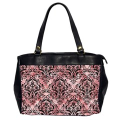 Damask1 Black Marble & Red & White Marble (r) Oversize Office Handbag (2 Sides) by trendistuff