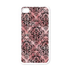 Damask1 Black Marble & Red & White Marble (r) Apple Iphone 4 Case (white) by trendistuff