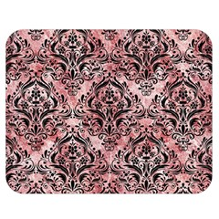 Damask1 Black Marble & Red & White Marble (r) Double Sided Flano Blanket (medium) by trendistuff