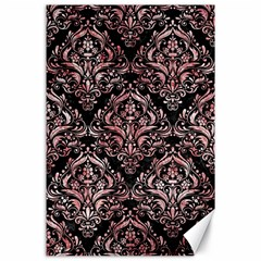 Damask1 Black Marble & Red & White Marble Canvas 24  X 36  by trendistuff