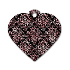 Damask1 Black Marble & Red & White Marble Dog Tag Heart (two Sides) by trendistuff