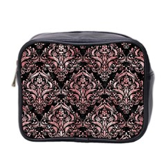 Damask1 Black Marble & Red & White Marble Mini Toiletries Bag (two Sides) by trendistuff