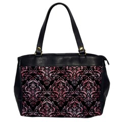 Damask1 Black Marble & Red & White Marble Oversize Office Handbag by trendistuff