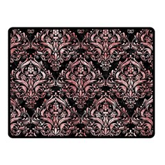 Damask1 Black Marble & Red & White Marble Double Sided Fleece Blanket (small) by trendistuff