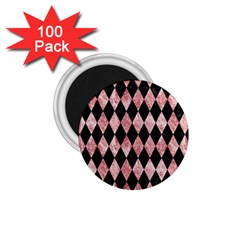Diamond1 Black Marble & Red & White Marble 1 75  Magnet (100 Pack)  by trendistuff
